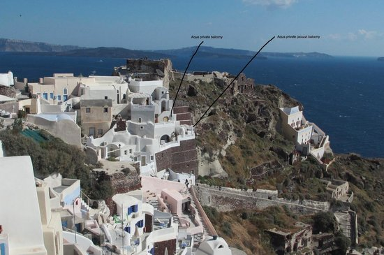 Art Maisons Luxury Santorini Hotels: Aspaki & Oia Castle: Looking at Oia Castle (at top), pointing out the Aqua suite balconies