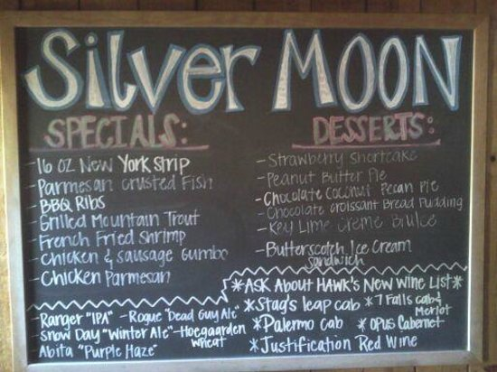 Eatonton, GA: Silver Moon Menu