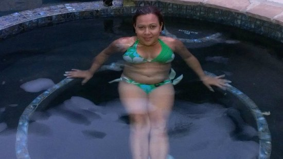 Utopia, TX: Rosa in Jacuzzi in the Black Lagoon pool area