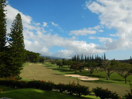 The Kapalua Villas: View from lanai across golf course after tilling