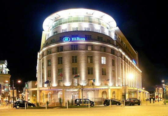 The exterior of Hilton Cardiff at night