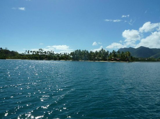 Nukubati Private Island: View to the Island from the boat
