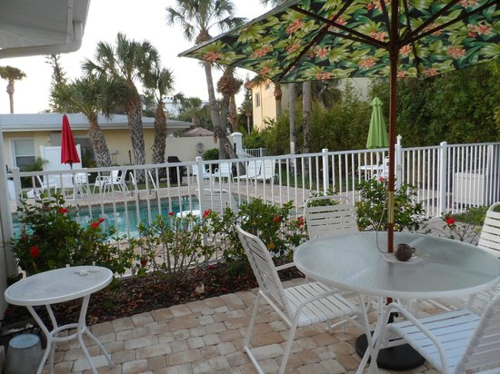 Sea Spray Resort on Siesta Key: Private patio at unit #3 that sits right beside pool.