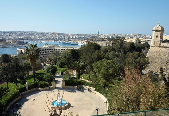 Hotel Phoenicia: View of hotel gardens and Marsamxett Harbour from first floor room