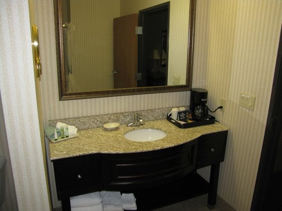 Inn on Barons Creek: Bathroom counter. Weird white smudge on front left corner.
