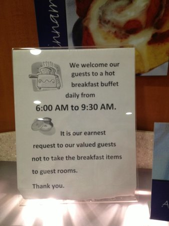 Holiday Inn Express Hotel & Suites Woodland Hills : Sign does not take into consideration a full breakfast area!