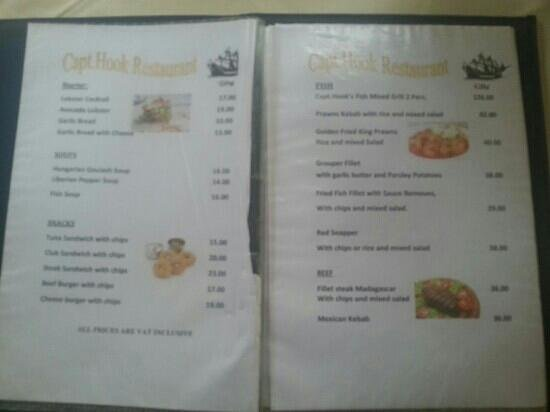 Sekondi-Takoradi, Ghana: Menu