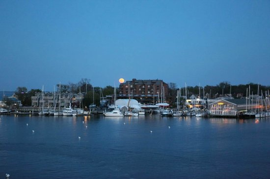 Annapolis Marriott Waterfront: Moon rise over the Harbor