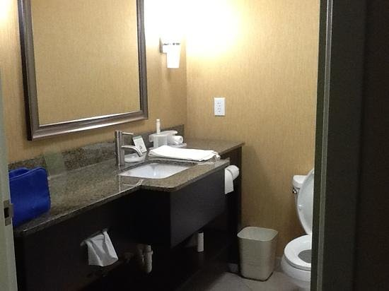 Holiday Inn Express Hotel &amp; Suites Clemson - Univ Area: granite tops in bathroom