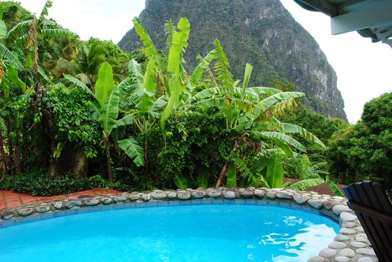 Stonefield Estate Resort: View of the Petit Piton from the Bamboo Villa