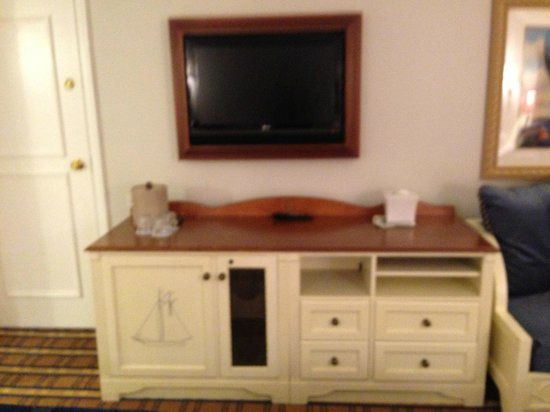Disney's Yacht Club Resort: Mounted TV  and Storage Console (fridge inside)