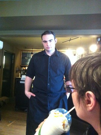 Frederick, our brilliant server, at Middleburg Common Grounds
