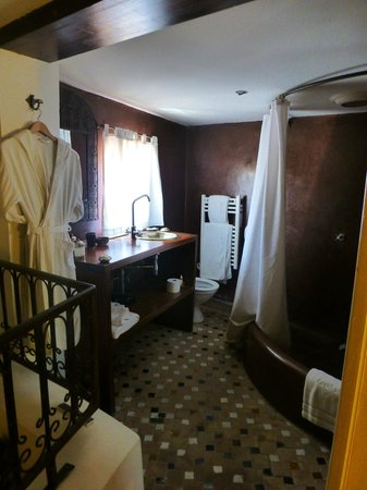 Riad Laaroussa: Bathroom in the brown suite -- note no door!