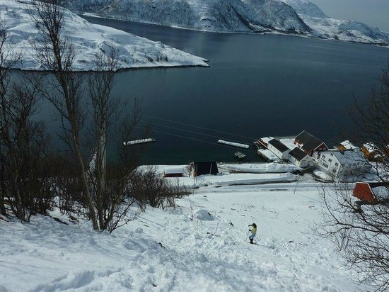 Troms, Norge: View of the cabins from the mountain where we went snow shoeing