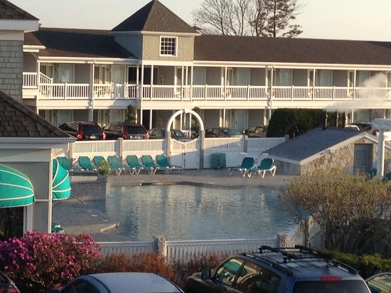 The Anchorage By the Sea : View of outdoor heated pool. Warm enough to swim in April! 