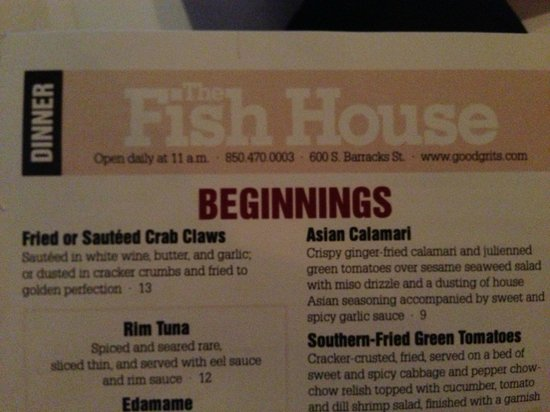 The menu picture of fish house atlas pensacola for The fish house menu
