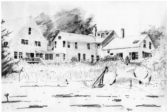 The Inn at Ferry Landing: The Inn from the beach, sketch by family member