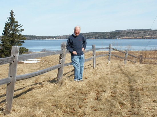 Deer Isle, ME: Gerald at the edge of the adjacent preserve Scott's Landing