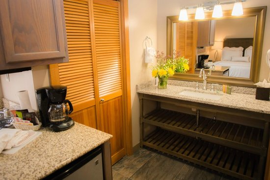 Park Plaza Resort: Studios aka Queen Suites or Efficiency studios have brand new bathroom, granite counters slate f