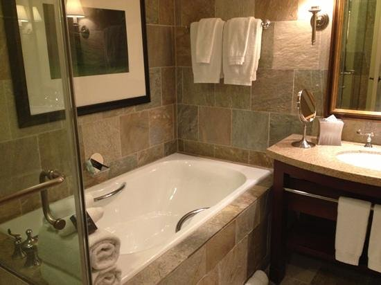 St Julien Hotel and Spa: beautiful bathroom with hair dryer and other accessories
