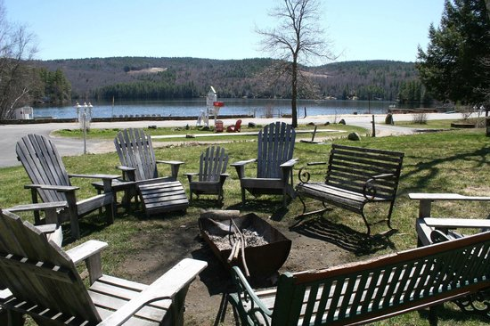 Cottage Place on Squam Lake: Camp fire area overlooking Evans Cove