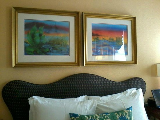 Hotel Triton - a Kimpton Hotel: Jerry Garcia Suite - Bed with Jerry&#39;s art.