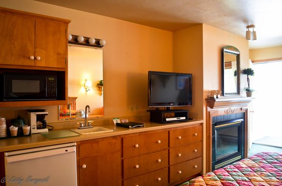 Homestead Suites: View with refrigerator, microwave, fireplace