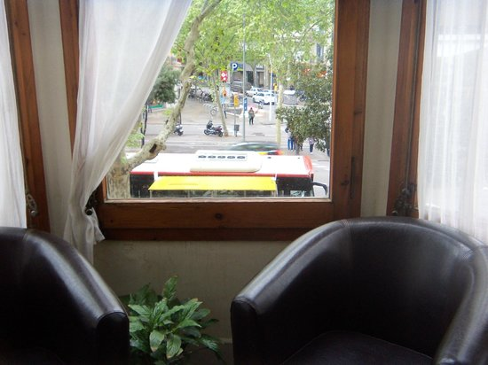Ana's Guest House B&B: Bus stop in front seen from window of ensuite sunroom