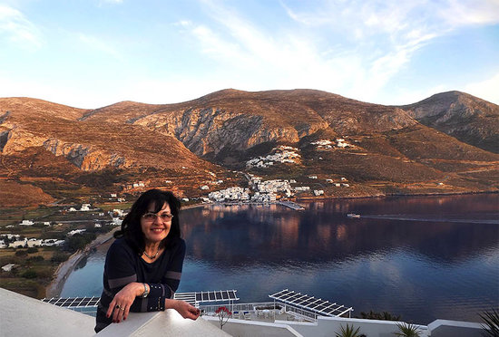 Aegialis Hotel & Spa: Mrs Irene Giannakopoulou - View on Aegiali port