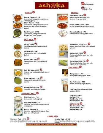 Menu 2 picture of ashoka indian healthy cuisine los banos tripadvisor for Ashoka indian cuisine menu