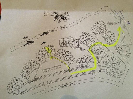 Junipine Resort: the resort ground map... the right side (single digits) are truly by the creek