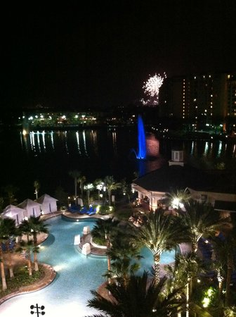 Wyndham Grand Orlando Resort Bonnet Creek: Epcot fireworks, from our balcony