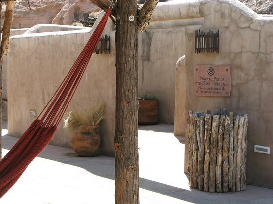 Ojo Caliente, NM: Entry to private pool area