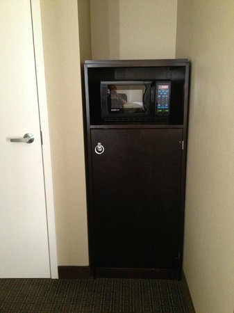 enVision Hotel Boston: Microwave and fridge inside the cabinet