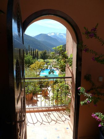 Kasbah Tamadot: Looking out from the room to the pool.  This is the area outside our door.
