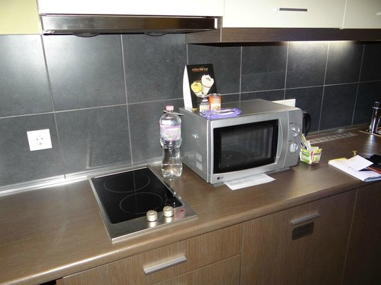 Opera Garden Hotel &amp; Apartments: Microwave and kitchen in the room