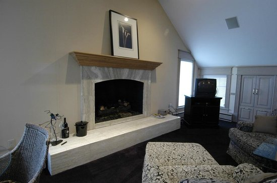 Suttons Bay, MI: Cozy fireplace area