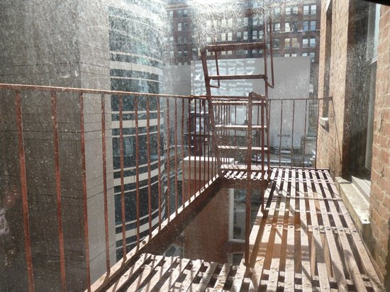 The Iroquois New York: Fire escape was the view from our room, but we had light