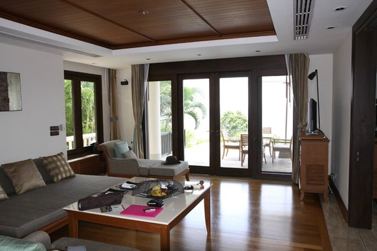 Trisara Phuket: Living room and patio- view from bathroom