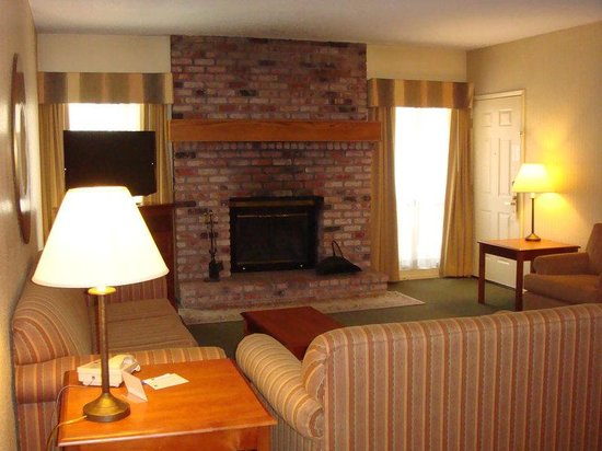 Pollock Pines, CA: Relax with a roaring fire in our king suite