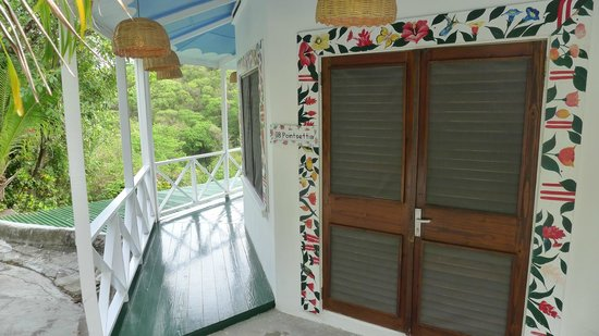 Anse Chastanet: Porch that surrounds room--views of Pitons and ocean