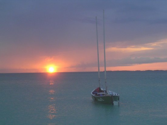 George Town, Great Exuma: Sunset and one of the 21' Sea Pearls