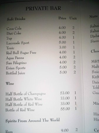 Four Seasons Hotel Dublin: price list mini bar