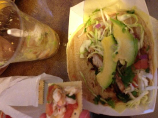 Shrimp ceviche and fish taco picture of oscar 39 s mexican for Oscars fish tacos san diego