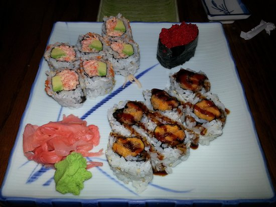Brookfield, CT: spicy crab, sweet potato &amp; red flying fish suishi