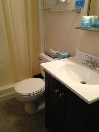 Alpen Acres Motel: Room with two double beds--bathroom with shower, Crabtree and Evelyn soaps