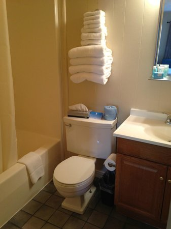 Alpen Acres Motel: Two Double bed room--bathroom with shower and tub, Crabtree & Evelyn soaps
