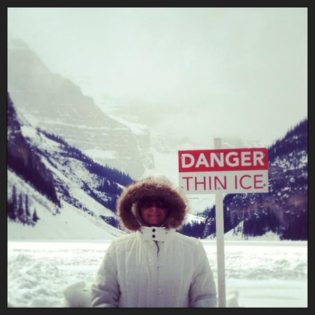 Fairmont Chateau Lake Louise: Danger - thin ice. No skating in spring.