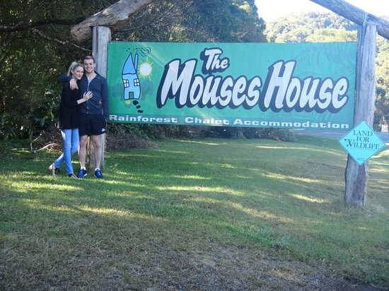 The Mouses House Rainforest Retreat: At the entrance to the Mouses House with my love.
