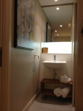 Residence Inn Edinburgh: Bathroom sink, bedroom left toilet and shower room right.